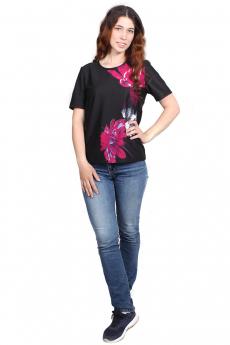 Черная футболка с цветком Bast