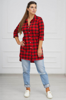 Красная туника-рубашка в клетку Шарлиз